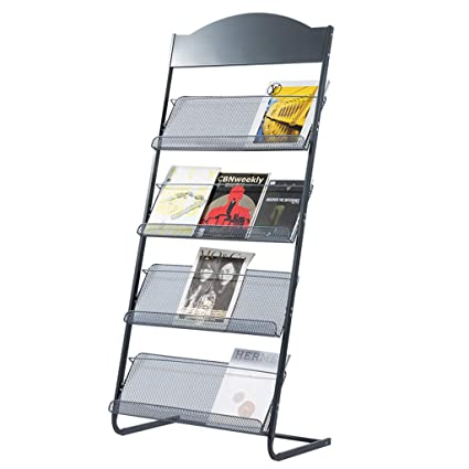 4 Layer Dark Gray Magazine Rack Comic Bookshelf Newspaper Drawings Atlas Floor
