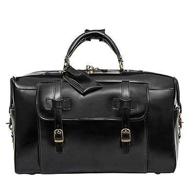 Amazon.com: Leathario Mens Genuine Leather Overnight Travel Duffle ...