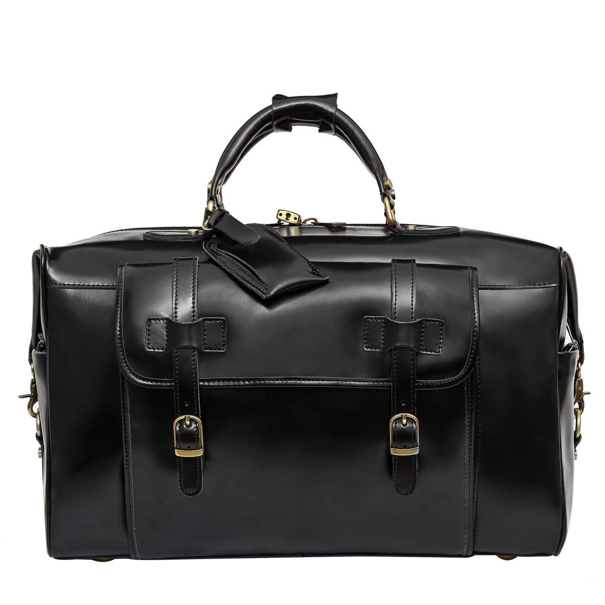 Leathario Mens Genuine Leather Overnight Travel Duffle Weekend Bag Black