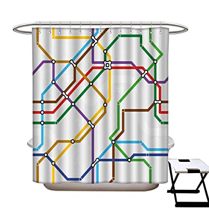 Rings Subway Map.Amazon Com Homecoco Map Mildew Resistant Shower Curtain Liner