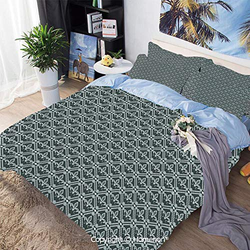 Bedding Sheets Set 3-Piece Bed Set,Abstract Dotted Rectangles with Floral Pattern Polka Dots with Vintage Motifs Decorative,King Size,Include 1 Quilt Cover+2 Pillow case,Sage Green