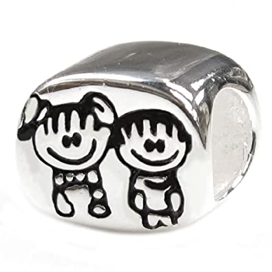 db233f06c Queenberry Sterling Silver Brother & Sister Family European Style Bead Charm:  Amazon.co.uk: Jewellery