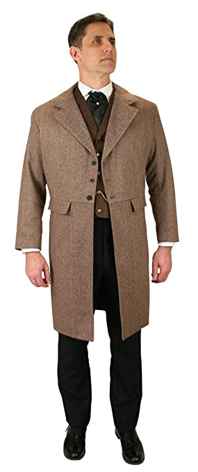 Men's Steampunk Clothing, Costumes, Fashion Historical Emporium Mens Emerson Herringbone Tweed Frock Coat $169.95 AT vintagedancer.com