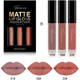 Liquid Lipstick Set Long-Lasting Matte Lip Stick Make Up Waterproof Velvet Batom Nude Sexy Lip Gloss Cosmetics Kit-3 Color (B)