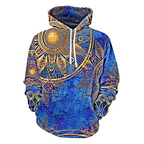 3D Fashion Kangaroo Pocket Maya Totem Print Retro Casual Men and Women Sweatshirt Hoodie Blue - Cotton Maya Sweater