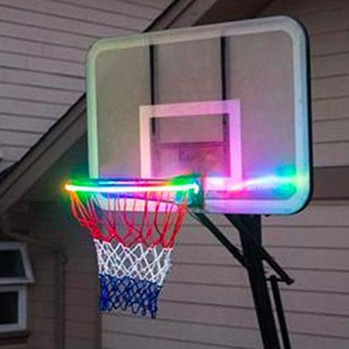 Kwsdo LED Basketball Light up Hoop, Hoop brightz - Light up Your Hoop Automatically After Sensing Basketball Score, RGB Light Modes, Waterproof IP65,Kids Adults Parties and Training Blue