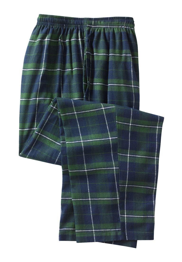 KingSize Men's Big & Tall Flannel Plaid Lounge Pants, Balsam Plaid Tall-XL