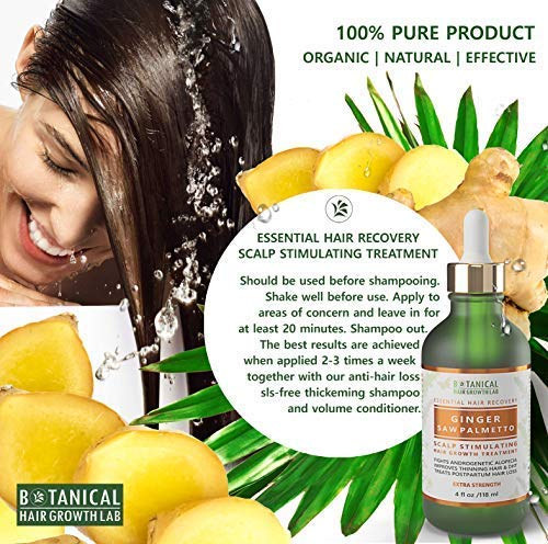 Hair Growth Treatment Ginger Saw Palmetto Scalp Stimulating Oil Lab Formulated Anti-Hair Loss Botanical Pre -Shampoo DHT Blocker and Alopecia Prevention 4 Fl Ounce by BOTANICAL HAIR GROWTH LAB (Image #4)