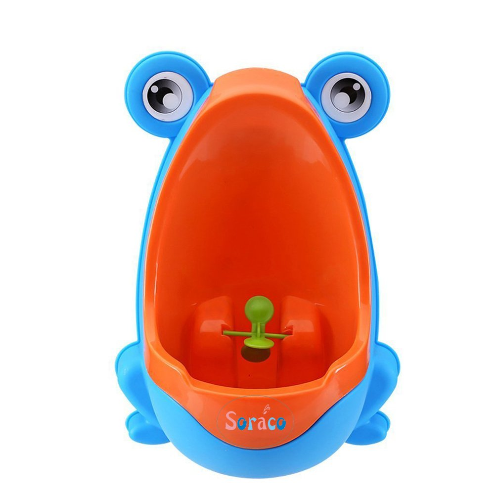 Soraco Cute Frog Potty Toilet Trainning Urinal with Fuuny Whirling Target (Coffe)