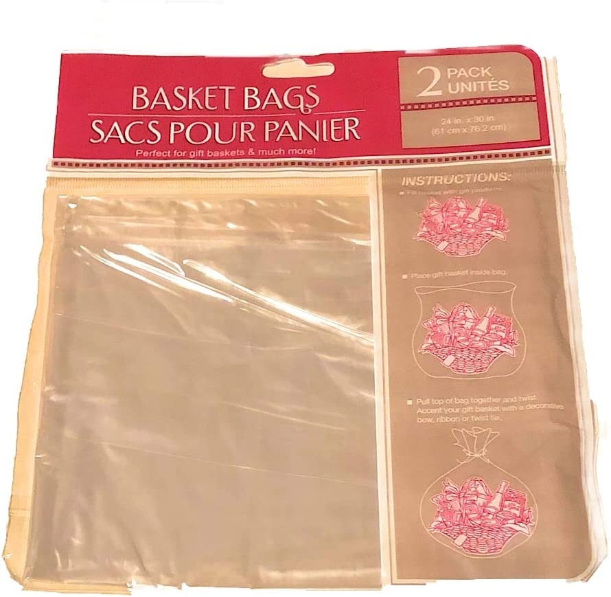 Clear Plastic Basket Bags, 2-ct. Pack- 24 In. X 30 In.