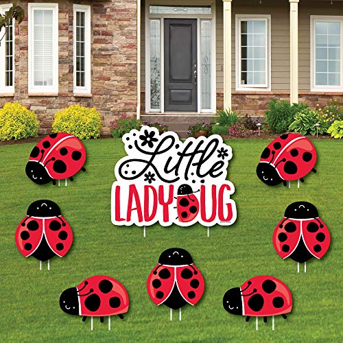 (Happy Little Ladybug - Yard Sign and Outdoor Lawn Decorations - Baby Shower or Birthday Party Yard Signs - Set of 8 )