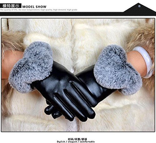 Generic Leather_ glove gloves women girls winter large -profile,_rabbit hair mouth,_riding velvet_touch_screen_warm_ glove gloves women girls