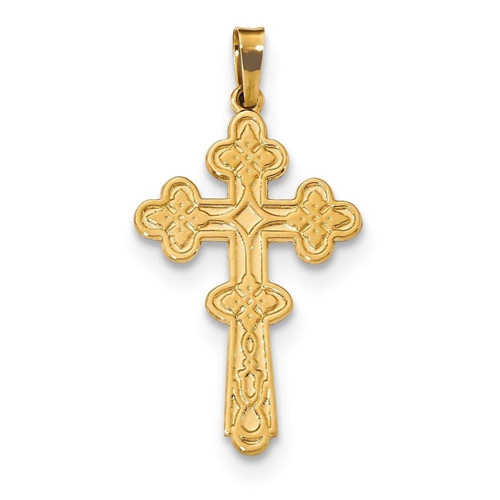 14k Polished Fancy Cross Pendant