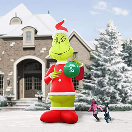 hammacher schlemmer the two story inflatable grinch christmas decoration - Grinch Christmas Decorations Amazon