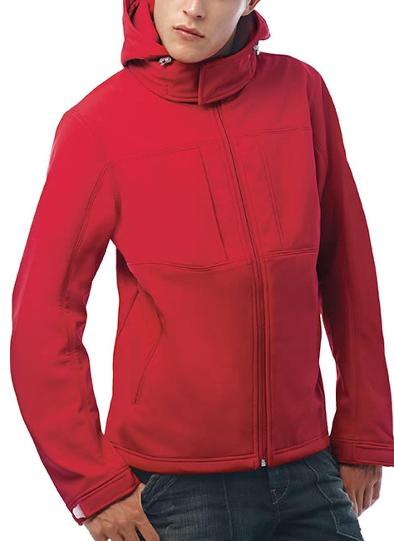 New B&c Hooded Softshell Mens Jacket Red 2xl