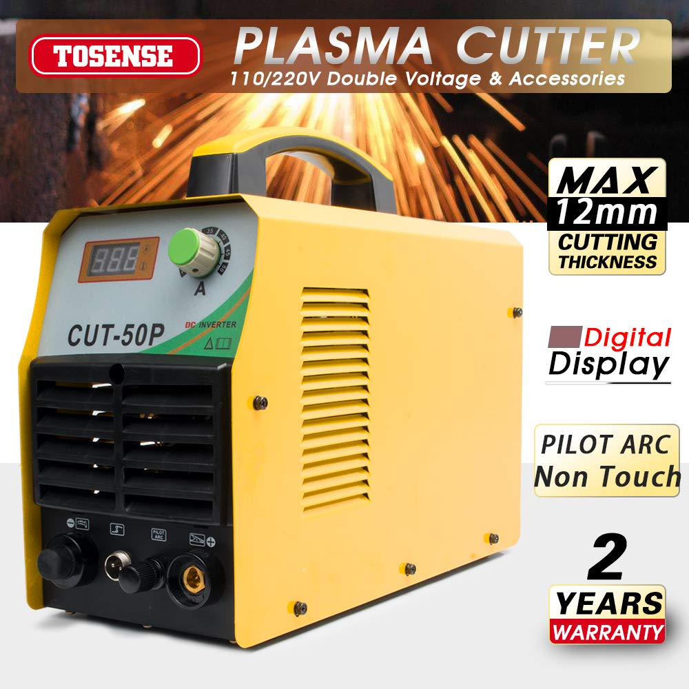 Tosenba Cut50p Plasma Cutter Non Touch Pilot Arc Dual Voltage 110 In Addition Consumables On Diy Schematic 220v 50amp 1 2 Clean Cut With Welding Glasses Free 46pcs Accessories Compact