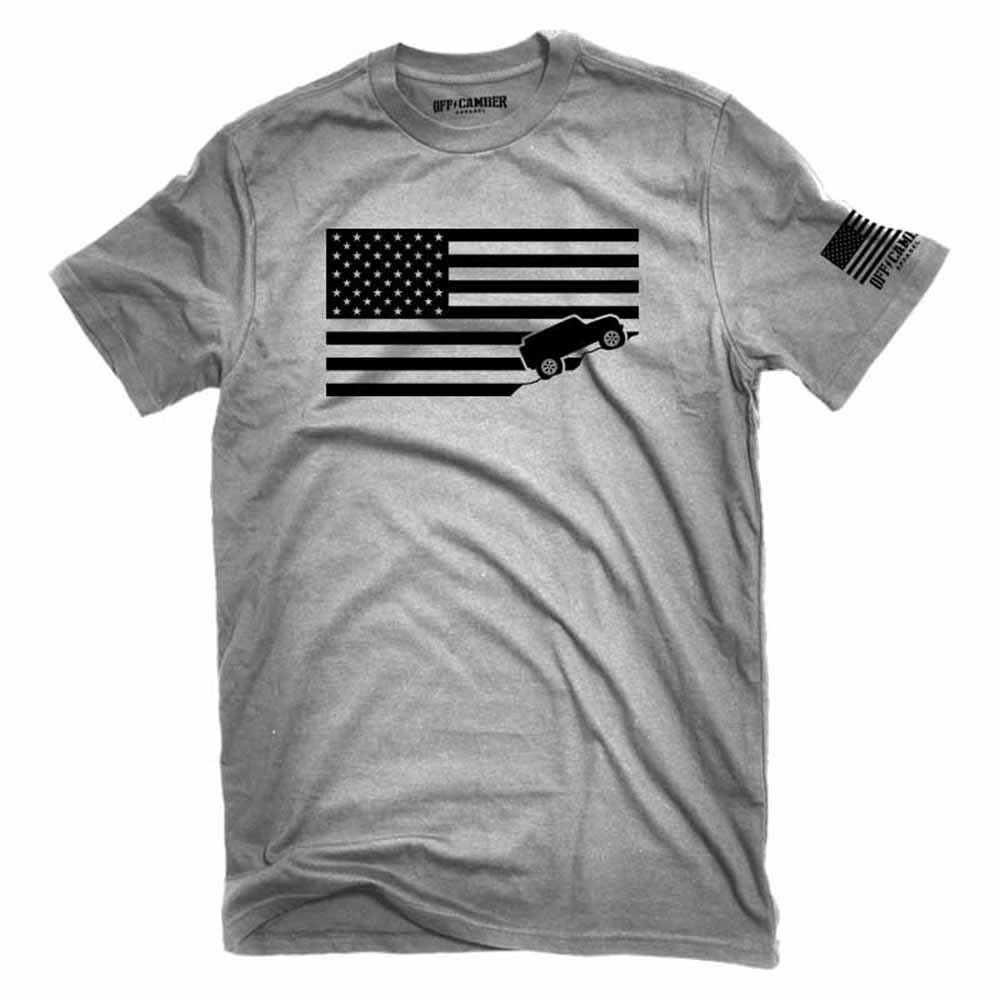 American Flag Jeep Shirt Ash Gray Made in USA offroad t-shirt (X-Large)