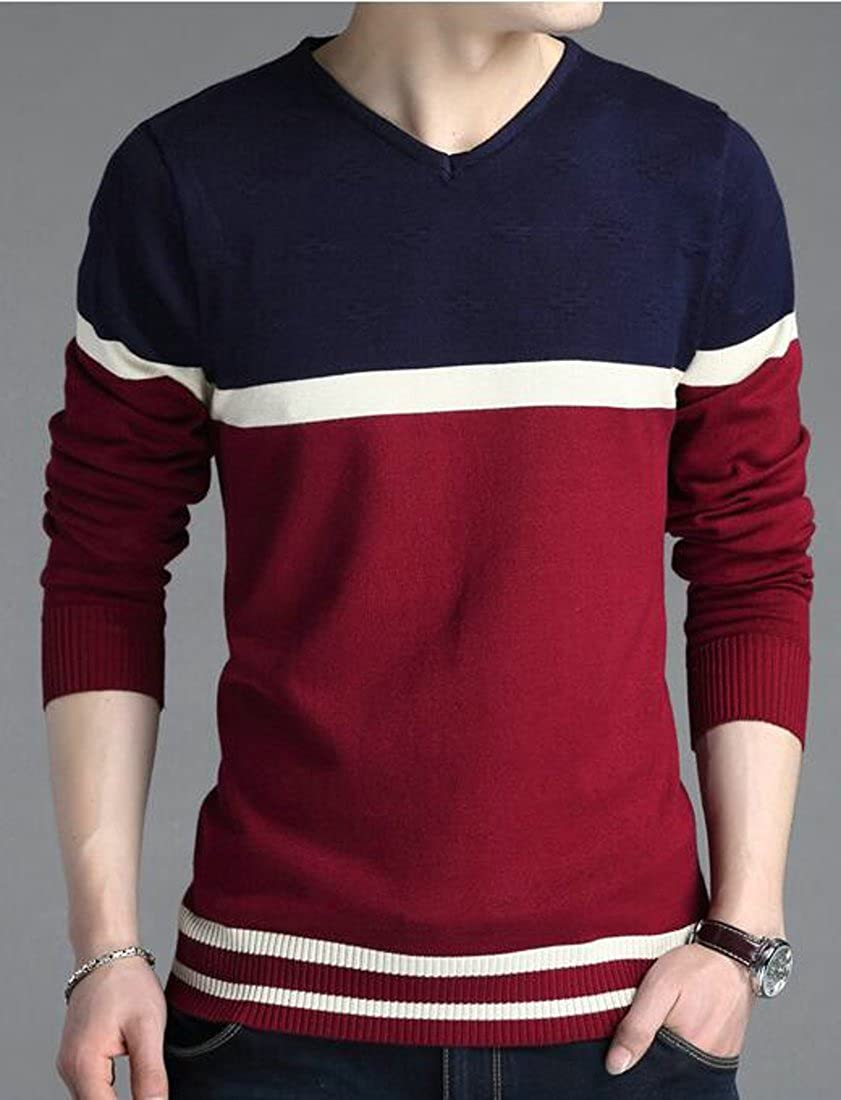 Pluszing Mens All-Match Warm Long Sleeve Knitted Pullover Stylish Casual V-Neck Sweater