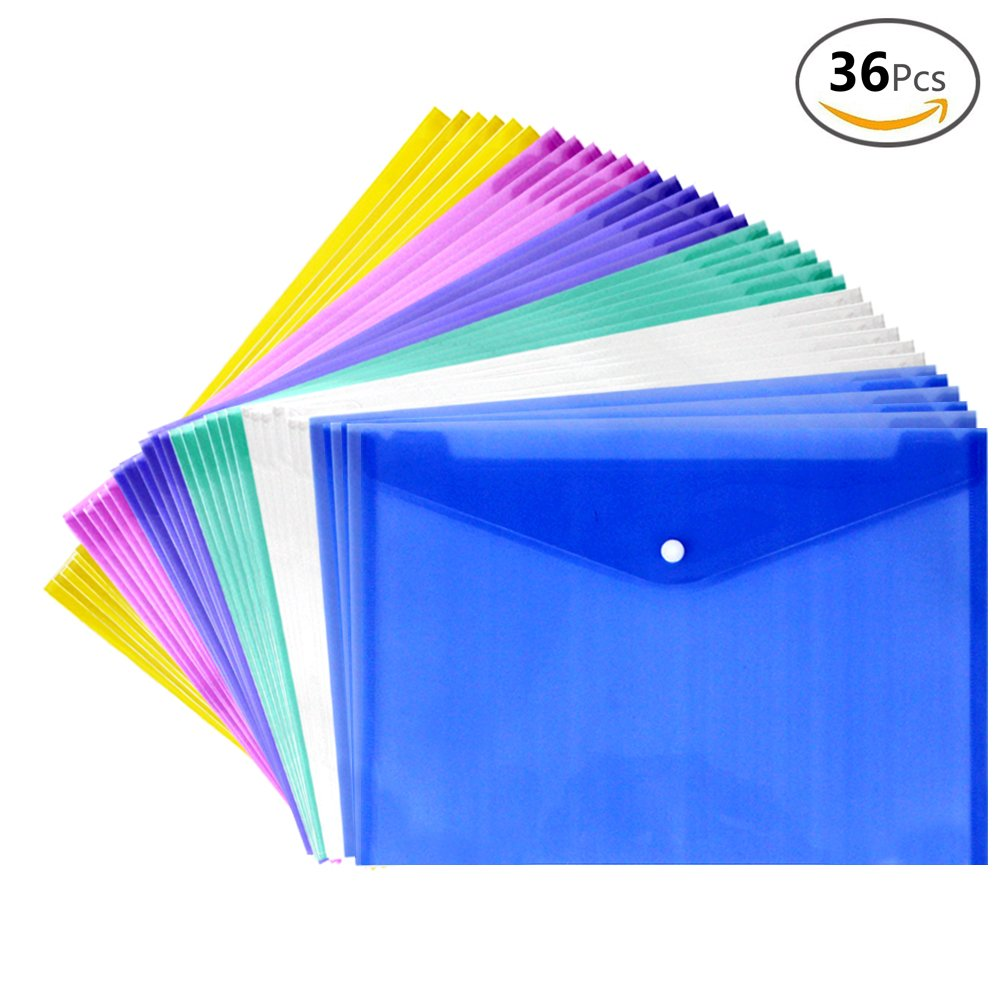 JUSLIN 36PCS Waterproof Transparent Poly Envelope with Snap Button Closure, Project Envelope Folder, A4 Letter Size, 6 Assorted Colors