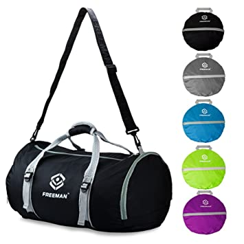Foldable Sports Duffel Gym Bag For Women Men With Shoe Compartment Lightweight Waterproof Travel