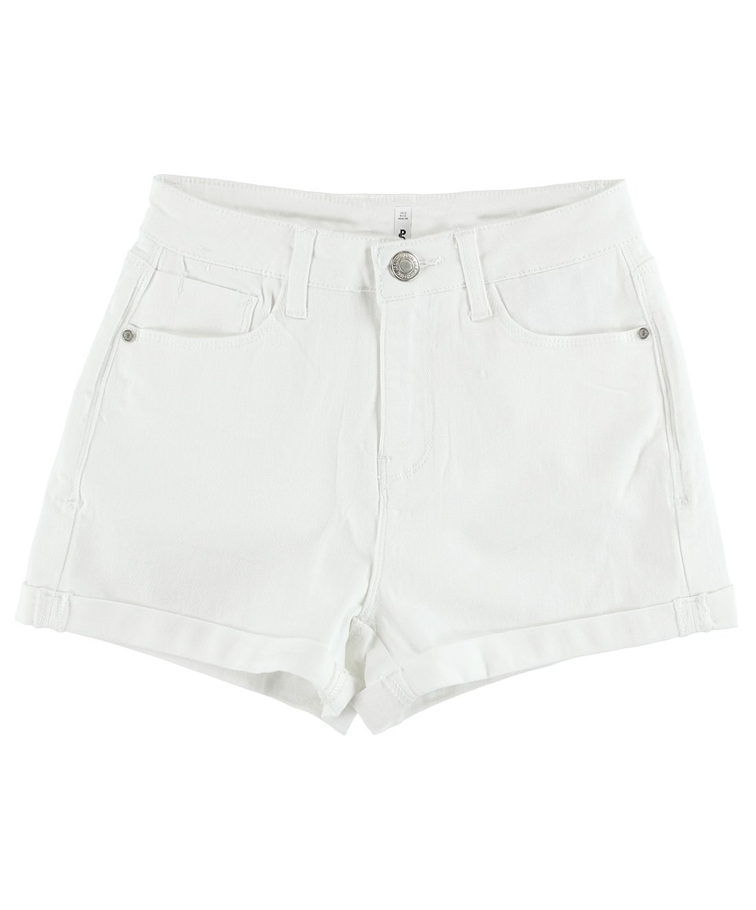 BLBD Women's Casual Stretchy High Waisted Shorts White Large