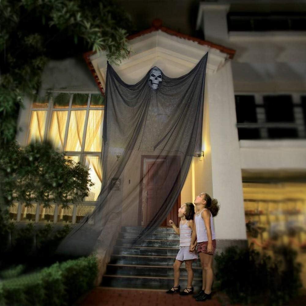 Halloween Hanging Ghost Prop Hanging Skeleton Flying Ghost, Halloween Hanging Decorations for Yard Outdoor Indoor Party Bar, 3.3m/10.8ft Long (Black)