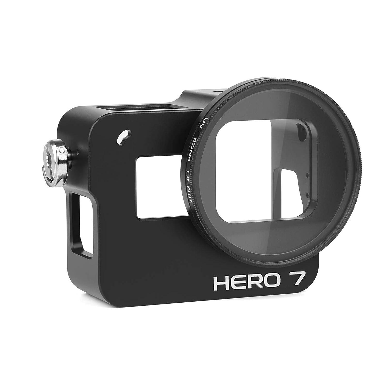 Seitliche offene Schale mit 52mm UV-Filter und Objektivdeckel Lighten Aluminum Alloy Schutzh/ülle Lade Schutzgeh/äuse Kabel Anschlie/ßbares Skelett f/ür Gopro Hero 7 Schwarz Action-Kamera
