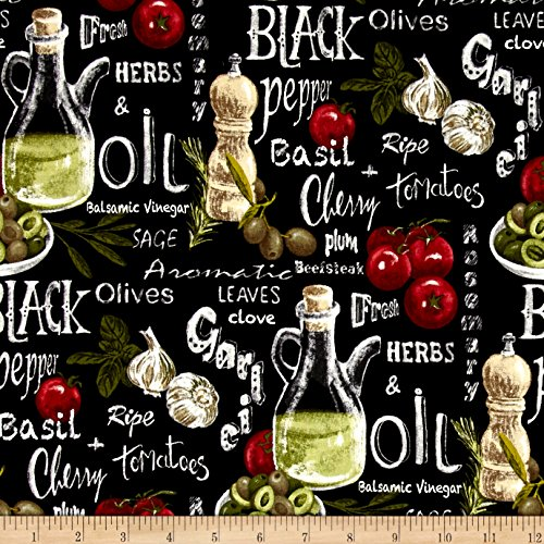 Fabri-Quilt Farmer John Garden Vegetable Mix Black Fabric by The Yard, ()
