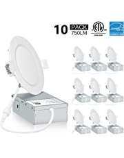 Green Canada LED 4Inch 9W 750LM LED recessed Slim Pot Light,IC-Rated Slim Downlight/Ceiling Light with Junction Box, Dimmable ETL/Energy Star Approved (10pack 5000K/Cool White)