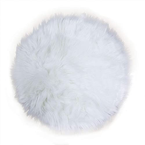 Pomeat 20 Inches Soft Faux Sheepskin Rouund Shaggy Shag Area Rugs White Fluffy Living Room Carpet Fit