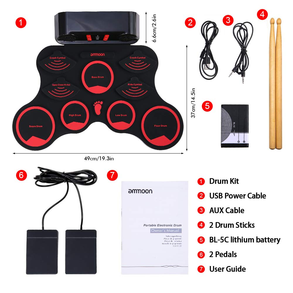ammoon Electronic Roll-up Drum Set Digital MIDI Drum Kit 9 Silicon Durm Pads Built-in Stereo Speakers Rechargeable Lithium Battery with 2 Foot Pedals for Kids Children Beginners by ammoon (Image #7)