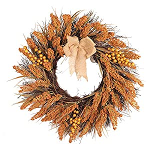 Sunshinehomely Fall Wreath for Front Door - Harvest Thanksgiving Day Autumn Maple Leaf Berry Artificial Garland Front Door Wreath Xmas Home Decor 30