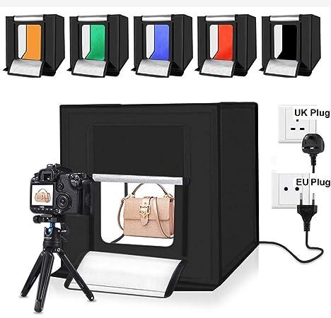UMOOIN Caja de luz para fotografía de 40 cm, Tienda de fotografía portátil para Estudio, Mesa Plegable, Mini Kit de iluminación LED con Luces LED integradas 6 Colores de Fondo: Amazon.es: Hogar