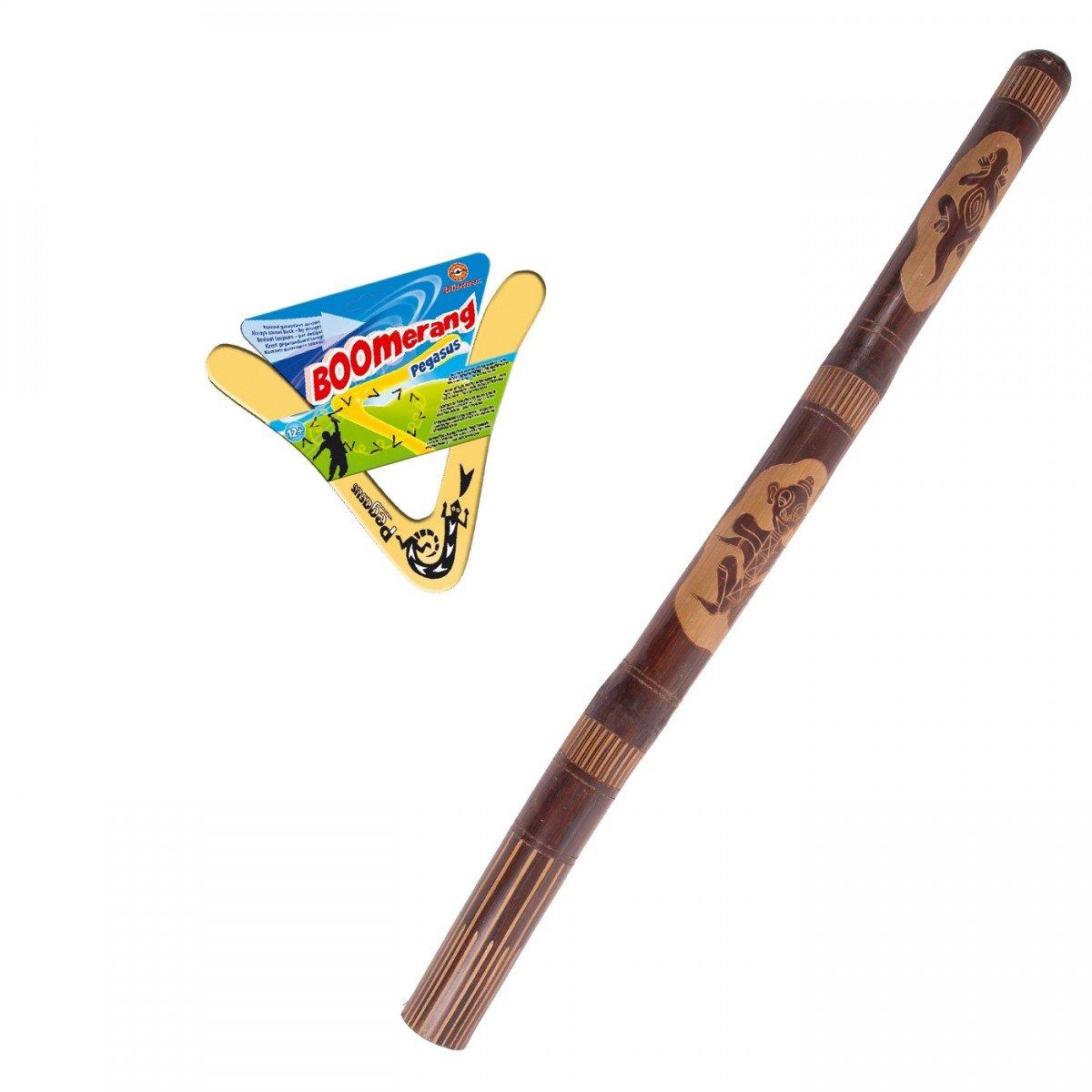 Australian Treasures Didgeridoo carved + Boomerang Pegasus ...