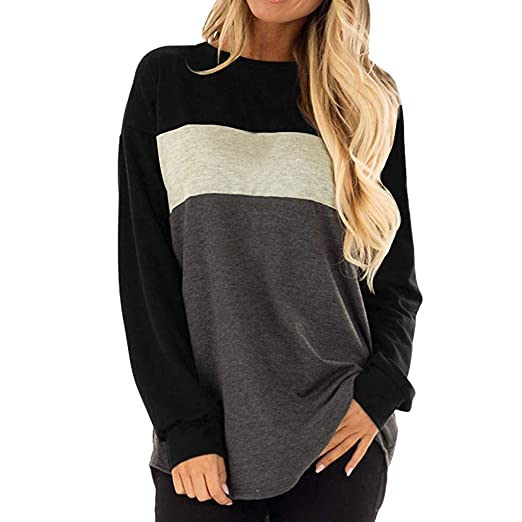 081c76f2d9f37 FEITONG Women s Long Sleeves Crew Neck Tunic Tees Casual Loose Color Block  Tops Blouse(Small