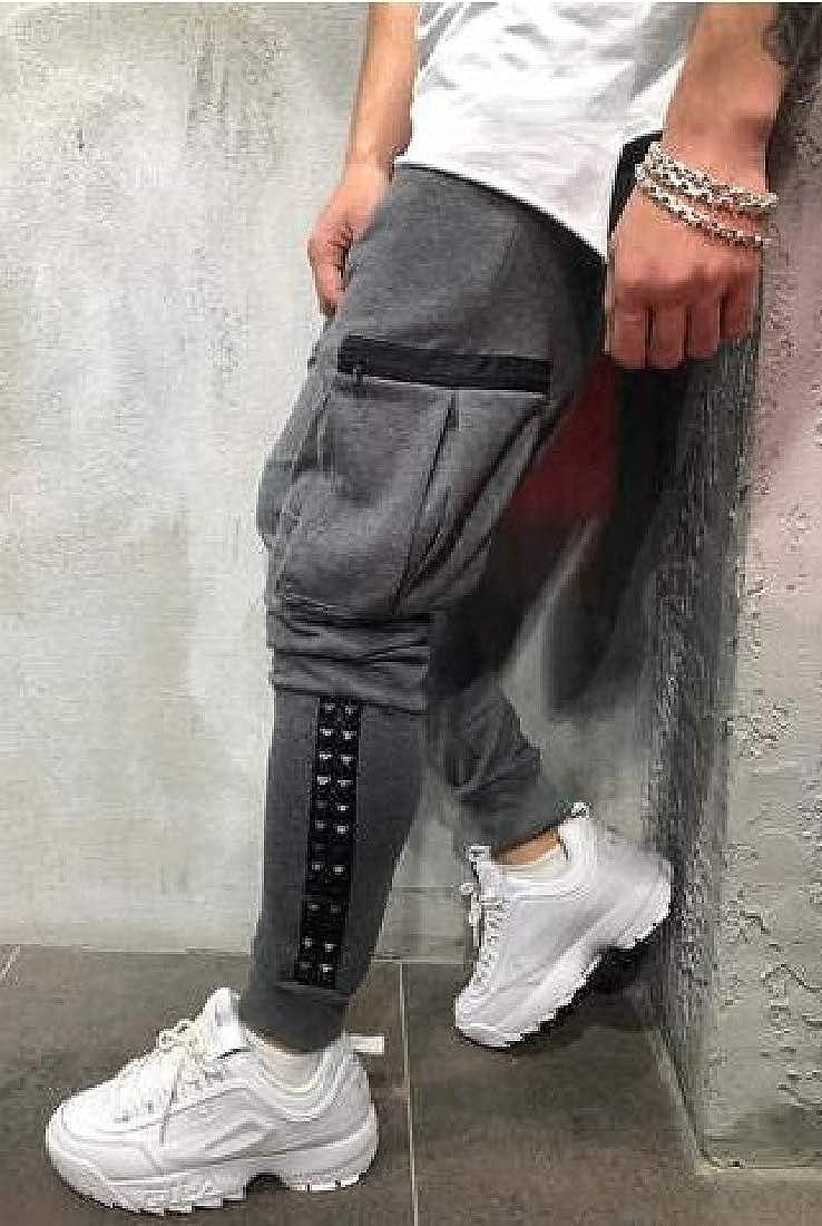 OTW Mens Gym Trainning Contrast Athletic Jogger Trousers Hip Hop Drawstring Sweatpants Pants Trousers