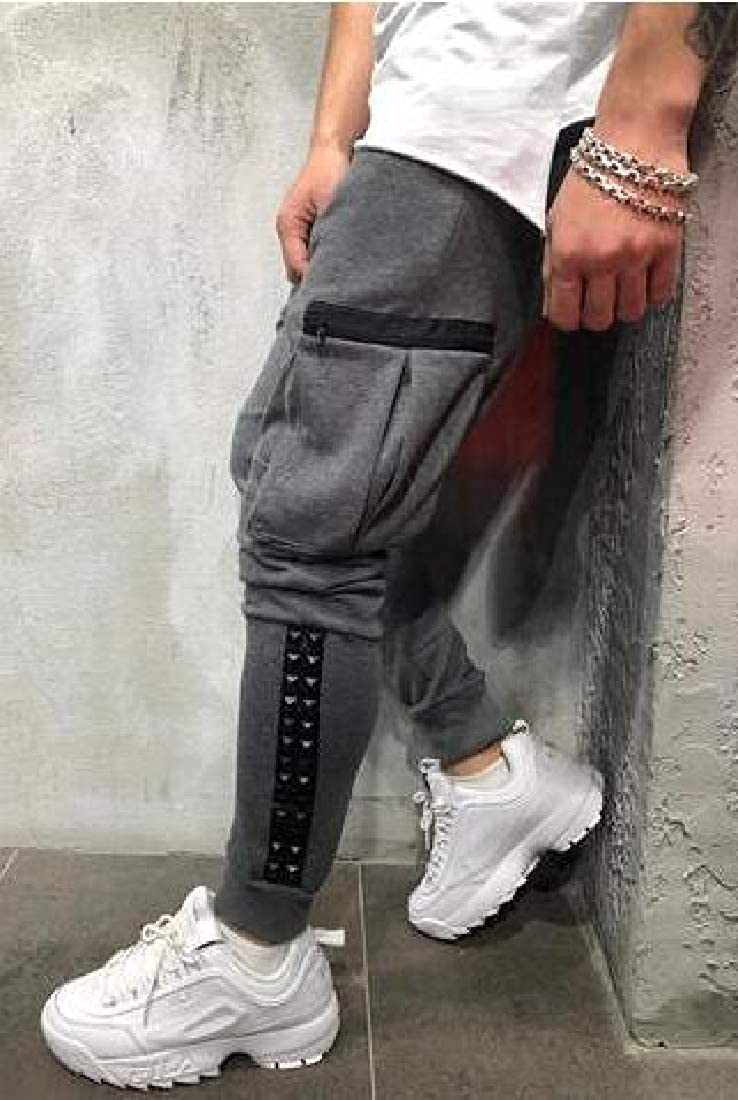 UUYUK Men Gym Trainning Contrast Jogger Trousers Hip Hop Drawstring Sport Sweatpants Pants Trousers