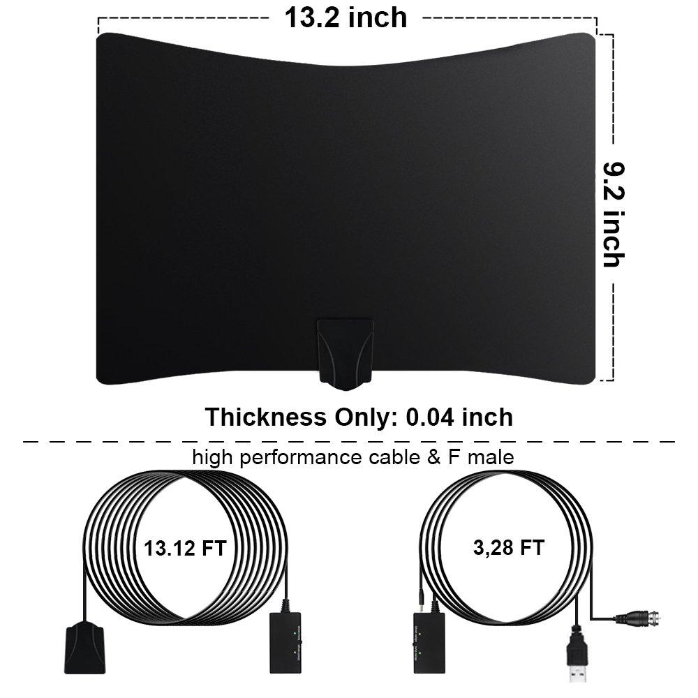 Antena TV Interior, Ultra Plana Amplificador Antena TDT con Cable Coaxial DE 16.4 pies, Mayor Rango de Recepción DE 80 KM, Antenas de Television Portatil ...