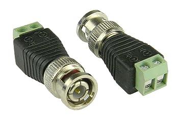 aostek 1 x BNC macho a AV 2-screw bloque de terminales Balum Conector Adaptador Jack Audio Cable Coaxial sin soldadura: Amazon.es: Electrónica