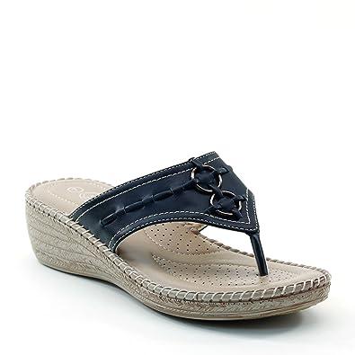 3c155036a774 Brieten Women s Metallic Ornament T Straps Thick Sole Thong Wedge Sandals  (6