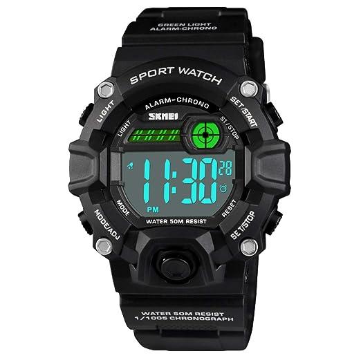 Reloj Deportivo Digital para niños y niñas, Resistente al Agua hasta 50 m, con Correa de Silicona y Alarma, cronómetro, LED, Regalo para niños: Amazon.es: ...
