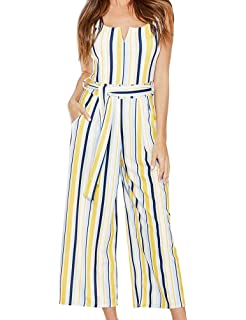 a3039795565 FANCYINN Womens U Neck Striped Belted Wide Leg Jumpsuits Rompers with  Pockets