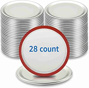 [28-Pack] Wide Mouth Canning Lids, Premium Food Grade Tinplate, Leak Proof for Mason Jar Lids with Silicone Seals Rings, ARTICTERN, Split-Type Lids for Ball, Kerr Jars, 3.38 inches