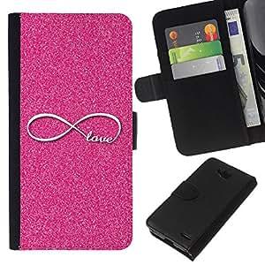 KLONGSHOP // Tirón de la caja Cartera de cuero con ranuras para tarjetas - Infinito Rosa Infinity Loop - LG OPTIMUS L90 //
