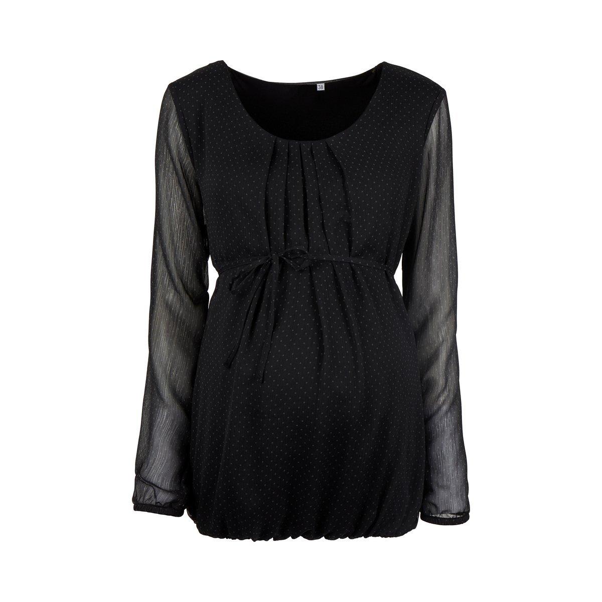 2HEARTS Umstands-Bluse Let/'s Celebrate//schicke Bluse im Punkte-Design f/ür die Schwangerschaft//schwarz