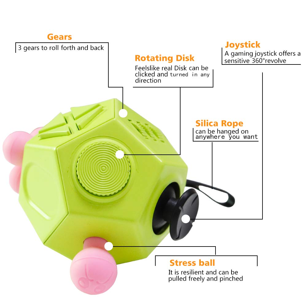 12 Sided Fidget Cube Toy Stress and Anxiety Relief Depression Anti Cube for Children and Adults