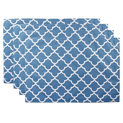ColorBird Geometric Series Trellis Place Mat Waterproof Spillproof Microfiber Fabric Table Doily Placemats, 13 x 19 Inch, Set of 4, Stone Blue
