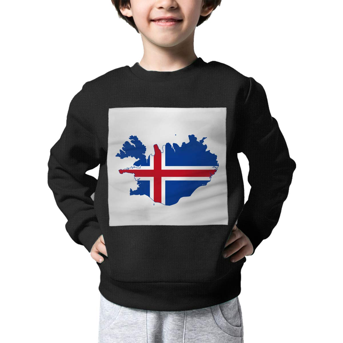 AW-KOCP Childrens Flag of Iceland Map Sweater Kids Outerwear