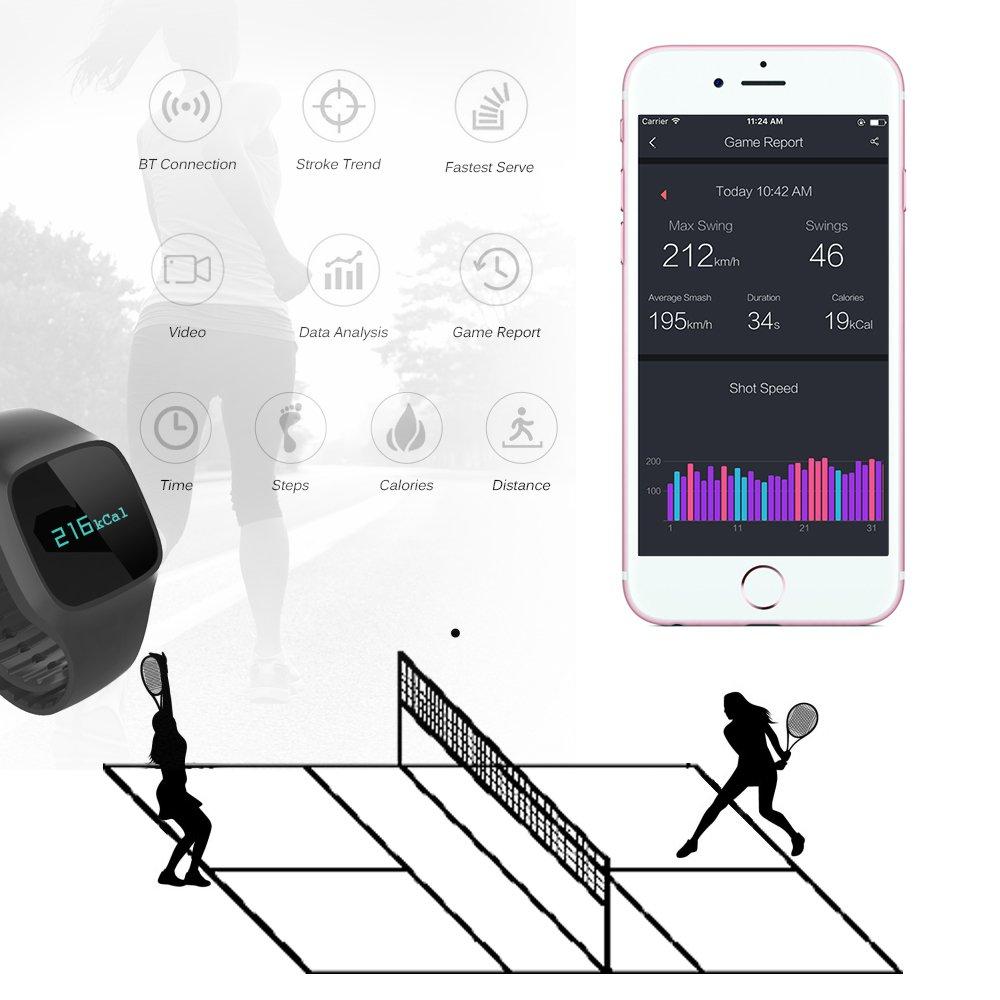 Lixada USENSE Sensor de Tenis Inalámbrico Recargable Elegante BT4.0 Monitor Del Sensor de Movimiento Del Reloj Podómetro Rastreador Raqueta Para El Pro y ...
