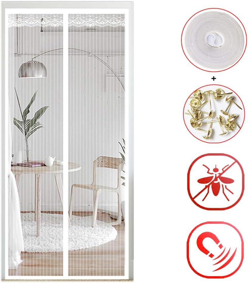 Blanco Verano Cortina magn/ética Cierre Autom/ático contra Insectos para Sala de Estar Balc/ón GUOGAI Mosquitera Magn/ética 70x190cm 28x75inch